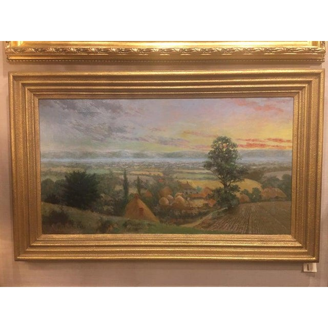 """20th century British framed oil on canvas """"Valley of the Rothe"""" by F. M. de la Coze. Signed."""