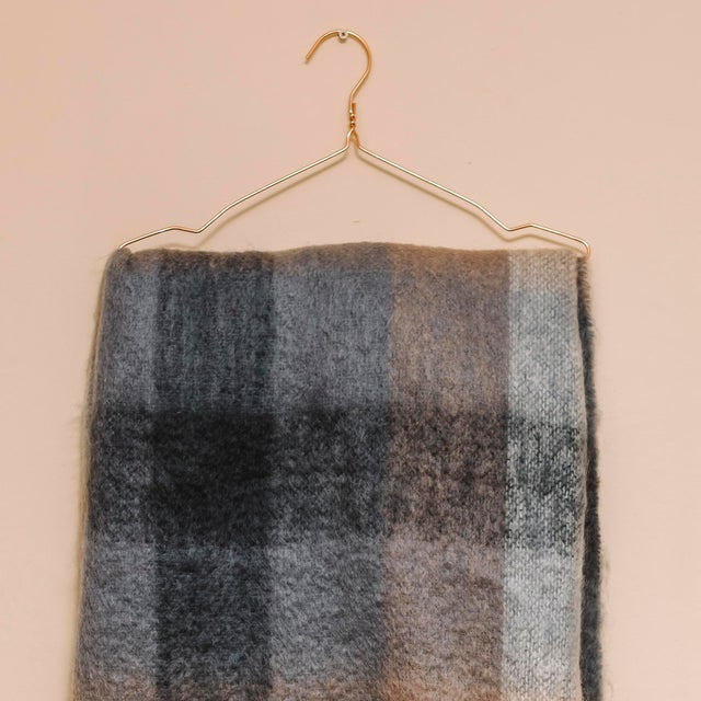 Charcoal White & Mink Check Mohair Throw For Sale In New York - Image 6 of 10