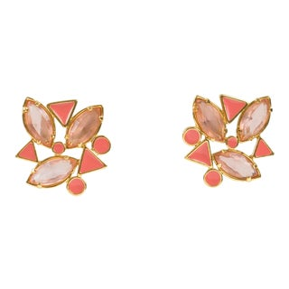Yves Saint Laurent Paris Pierced Earrings Gilt Metal Pink Salmon Rhinestones For Sale