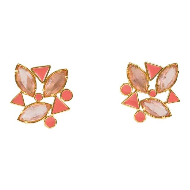 Yves Saint Laurent Paris Pierced Earrings Gilt Metal Pink Salmon Rhinestones For Sale