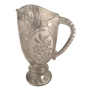 Art Deco Lead Crystal Etched Glass Pitcher For Sale