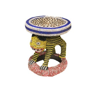 "Lg African Beaded Wood Bamileke Stool /Table Cameroon 18.25'""h For Sale"