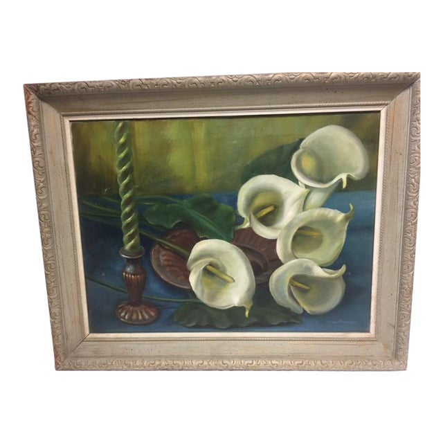 Signed Callalily Oil Painting For Sale