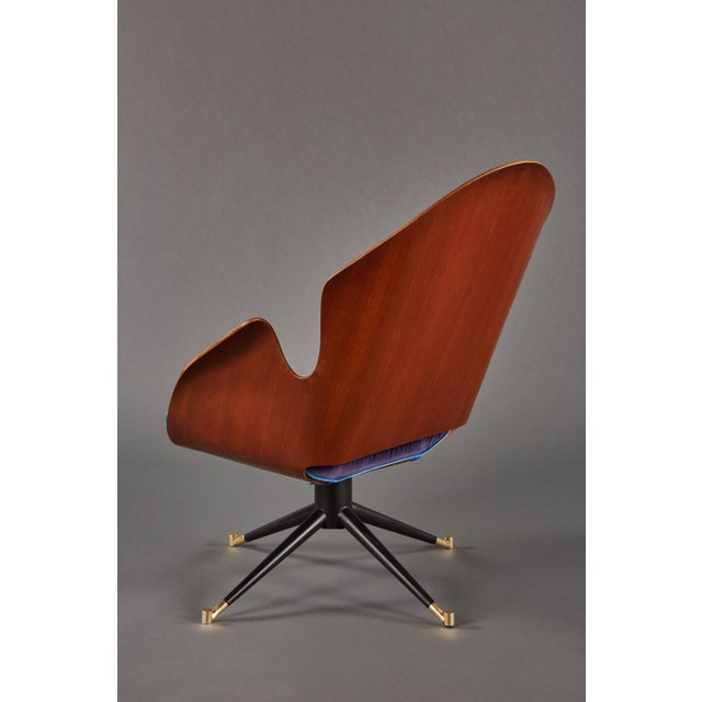 Metal Rare and Sculptural Pair of Mid-Century Italian Swivel Chairs For Sale - Image 7 of 11