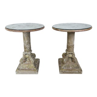 Pair of Carved Wood Italian Tables W/ Mirrored Tops For Sale