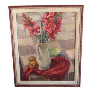 1940s Gladioli Still Life Oil Painting by Ruth Emerson, Framed For Sale