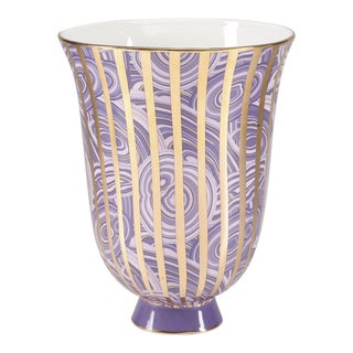 Jonathan Adler Malachite Stripe Porcelain Urn in Purple W 24kt Gold Accents For Sale