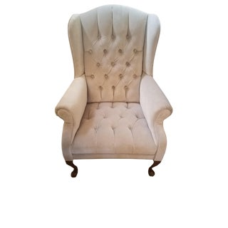 Vintage Grey Velvet Wingback Chair