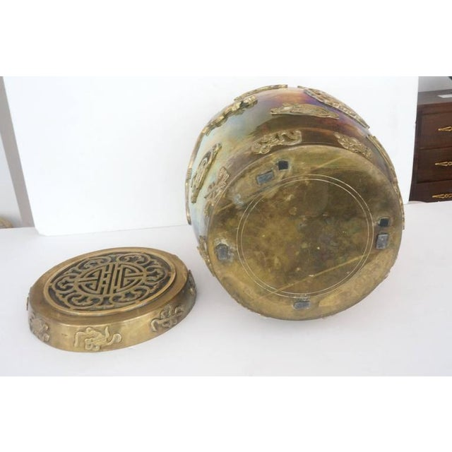 Hollywood-Regency, Brass Garden Stool / Side Table, Asian Motif with a Removable Lid - Image 5 of 10