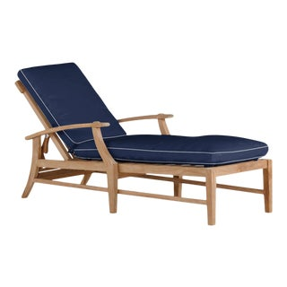 Summer Classics Croquet Chaise Lounge Without Wheel in Arbor Navy with Linen Snow Welt For Sale