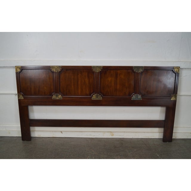 Henredon Vintage Mahogany Asian Inspired Campaign King Size Headboard Image 2 Of 10