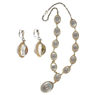 Large Oval Lucite Earrings and Necklace For Sale