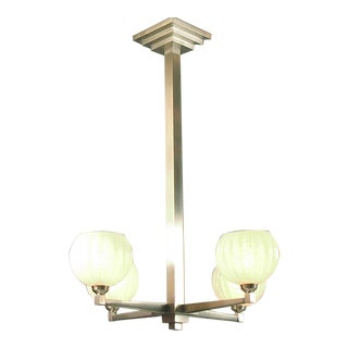 Brushed Nickel Finish Adorns This French Four-Light Art Deco Chandelier For Sale