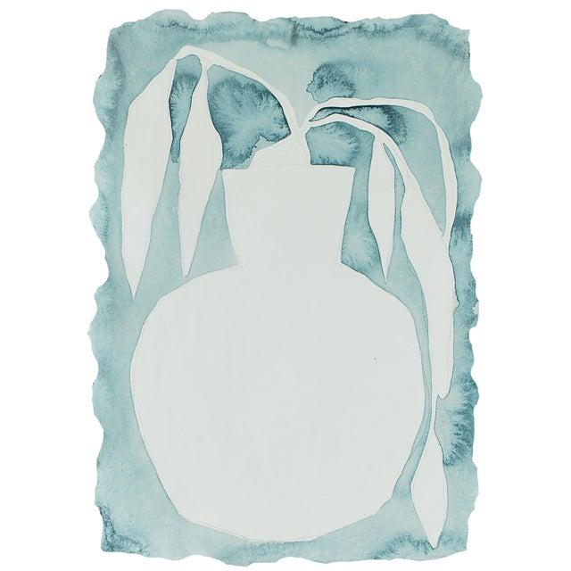 Pale Blue Vase Original Painting by Kate Roebuck For Sale