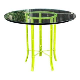 Mid Century Modern Faux Bamboo Chartreuse Painted Iron Round Breakfast Bistro Table For Sale
