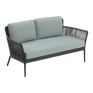 Outdoor Loveseat, Carbon and Sea Foam For Sale