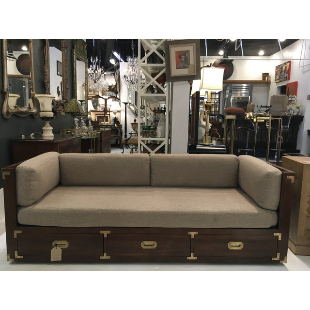 Gold Campaign Style Sofa W/ Three Drawers For Sale - Image 8 of 8