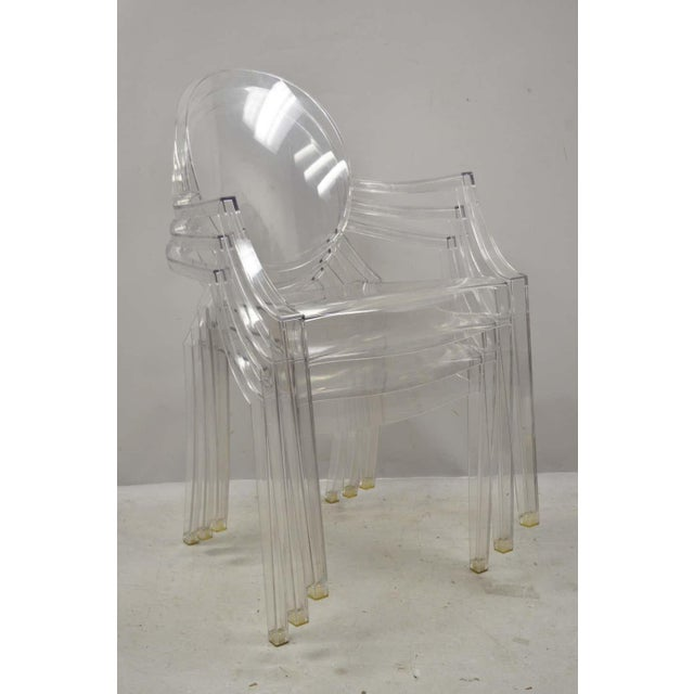 Mid-Century Modern Style of Kartell Phillippe Starck Louis Ghost Chairs Set of 6 For Sale - Image 3 of 6