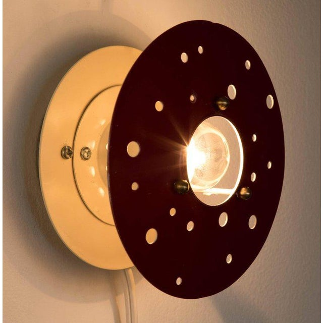Mid-Century Modern 1960s French Perforated Circular Sconce For Sale - Image 3 of 8