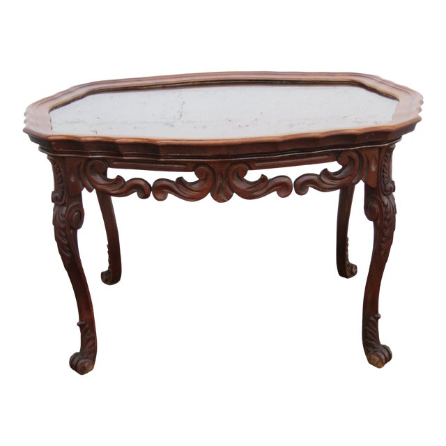 French Early 1900s Hand Carved Coffee Table With Serving Glass Tray 2357 For Sale