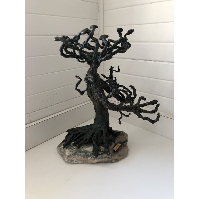 Vintage bronze sculpture of a tree in the brutalist style. Signed by artist.