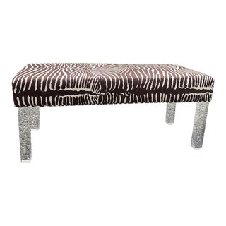 """Brunschwig and Fils """"Le Zebre"""" Upholstered Lucite Leg Bench For Sale"""