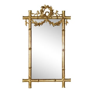 Mid-19th Century French Napoleon III Period Faux Bamboo Giltwood Mirror For Sale