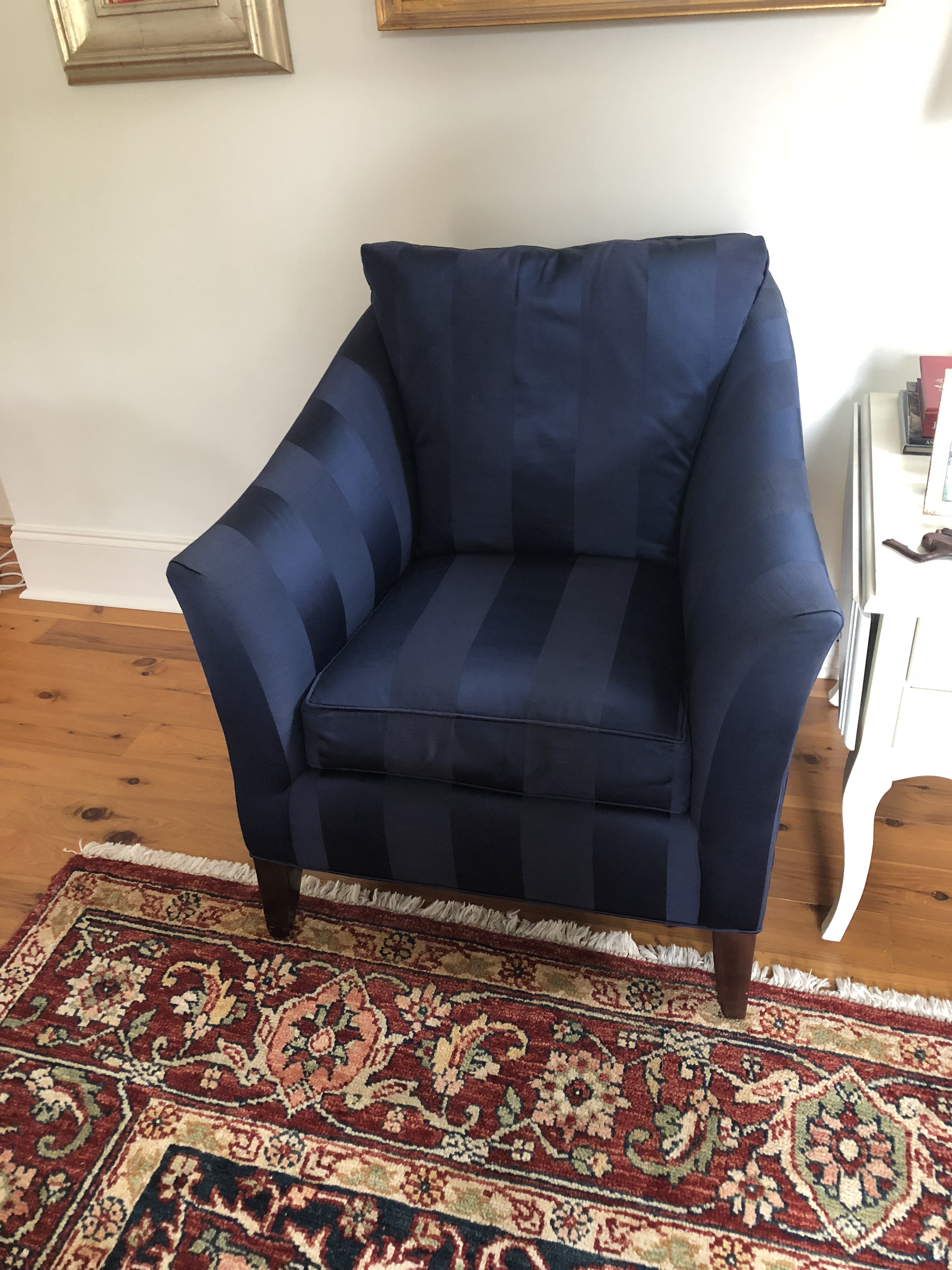 Ethan Allen Ethan Allen Blue Club Chairs   A Pair For Sale   Image 4 Of