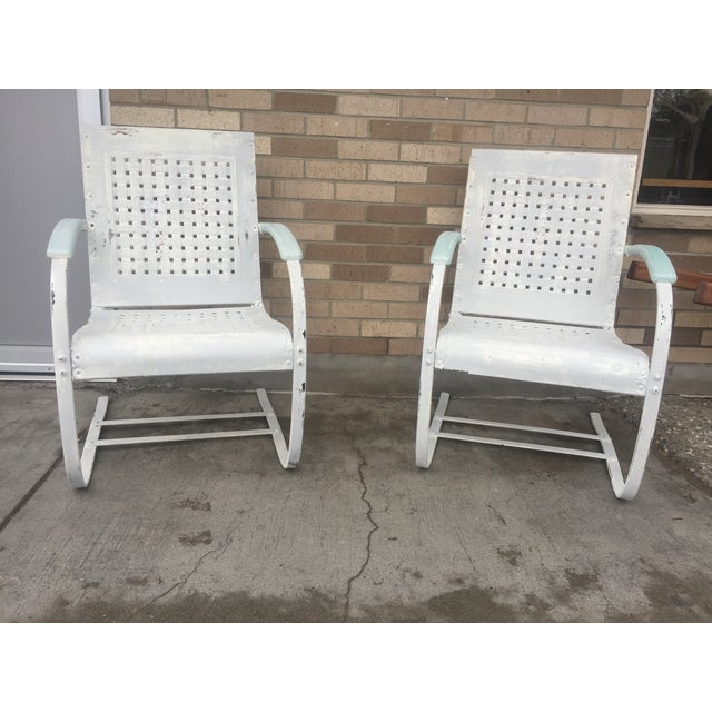 Mid-Century White Patio Chairs - A Pair - Image 2 of 7
