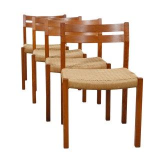 J. L. Moller Set of 4 Danish Modern Teak Dining Chairs For Sale