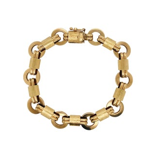 Vintage 14k Yellow Gold Link Bracelet For Sale