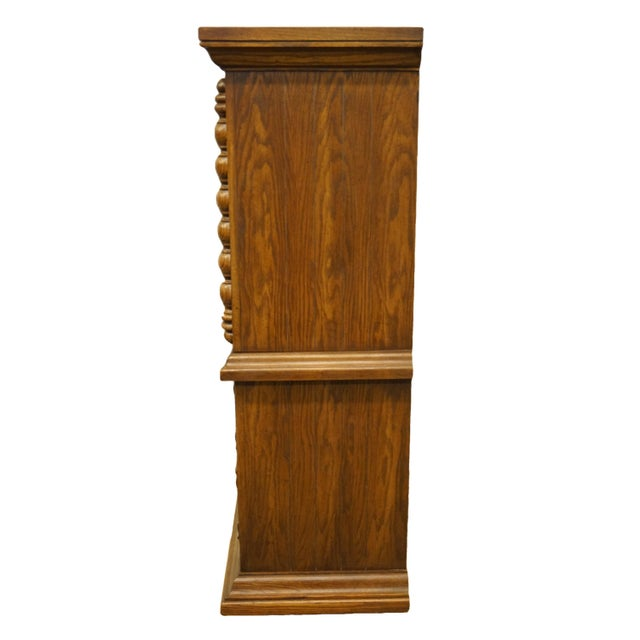 """Brown 20th Century Tuscan Broyhill Furniture Oak 39"""" Chest on Chest For Sale - Image 8 of 12"""