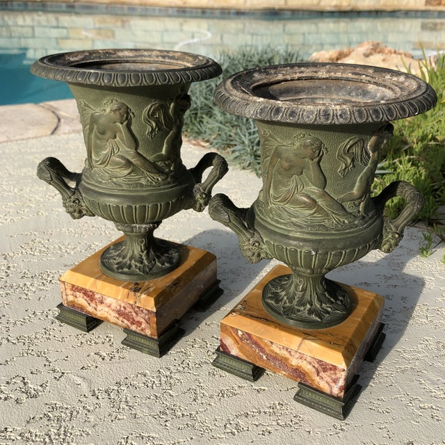 1920s Antique French Egg & Dart Victorian Marble Cast Urns- a Pair For Sale - Image 11 of 12