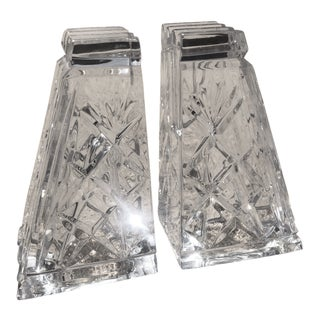 Vintage Etched Crystal Bookends - a Pair For Sale