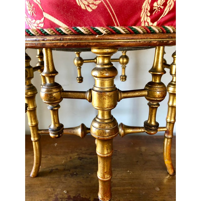 French Napoleon III Giltwood Faux Bamboo Stool For Sale - Image 4 of 7