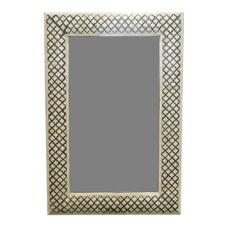 Black and White Geometric Bone Mirror For Sale