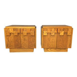 "Lane Brutalist ""Mosaic"" Pattern Oak Nightstands/End Tables - A Pair For Sale"