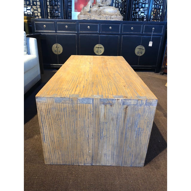 Asian Washed Elm Wood Coffee Table For Sale - Image 3 of 7