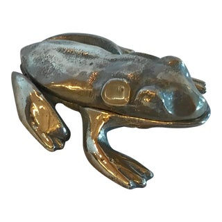 Vintage Mid-Century Brass Frog Box For Sale