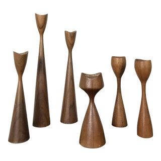 Vintage Collection of Danish Modern Teak Candle Holders For Sale