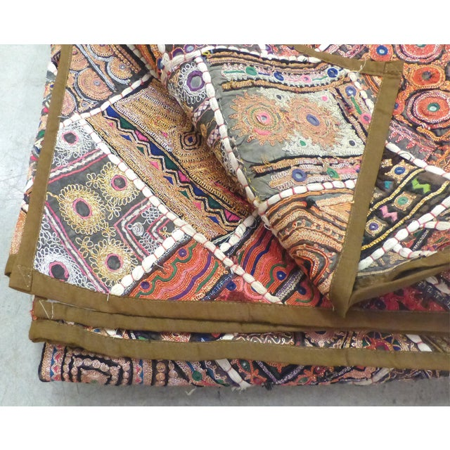 Glass Antique Indian Wedding Saree Quilt For Sale - Image 7 of 9
