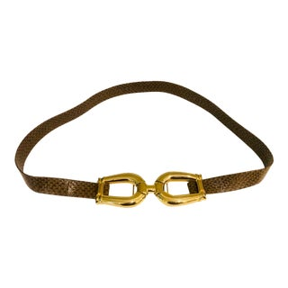 1980s Alexis Kirk Large Gold Horsebit Belt For Sale