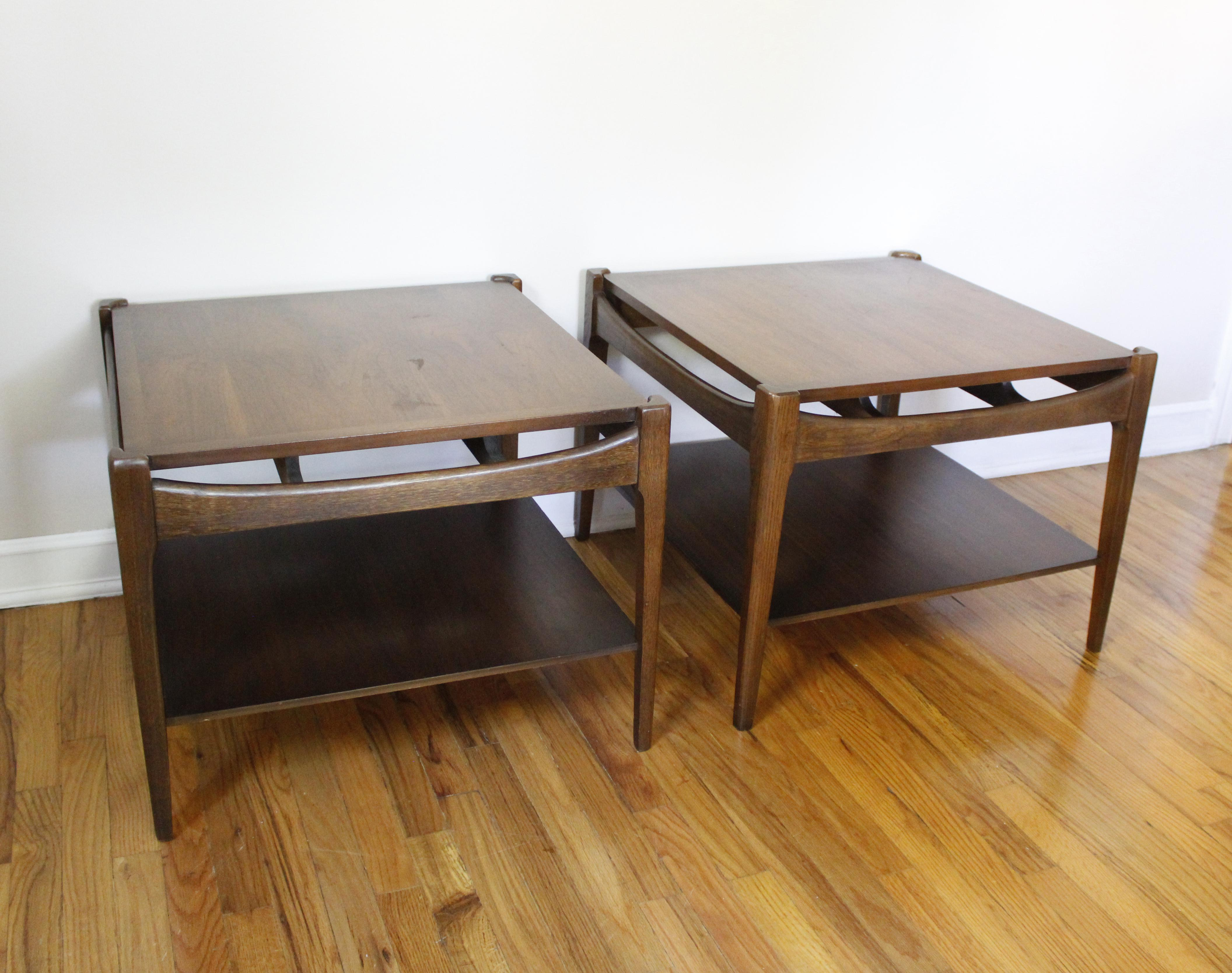 Mid Century Modern Bassett Walnut End Tables Side Tables Square A