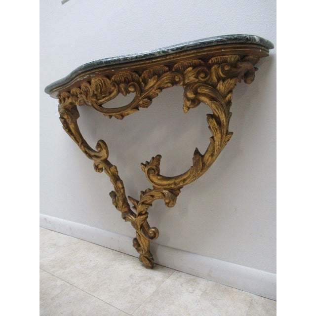 Antique French Carved Marble Top Wall Shelf Console - Image 11 of 11