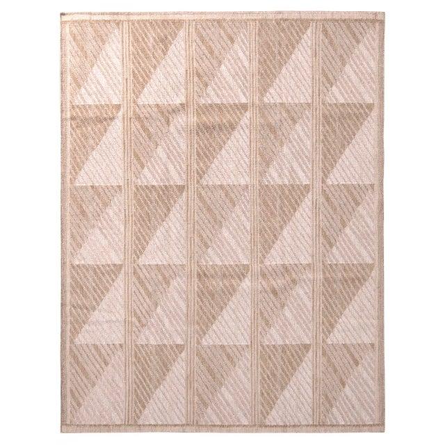 Scandinavian Style Geometric Beige Brown Wool Kilim Rug For Sale In New York - Image 6 of 6