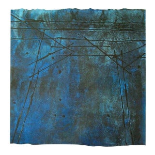 """Niederhausen Monoprint on Paper """" Vestigal Remains 8"""", Contemporary Blue and Black Abstract For Sale"""