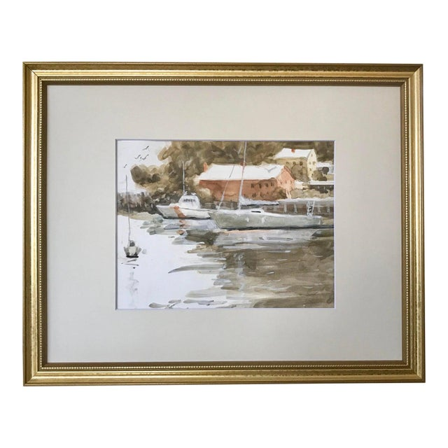 Watercolor Vintage American Watercolor Boats Long Island New York by Harry Barton For Sale - Image 7 of 7