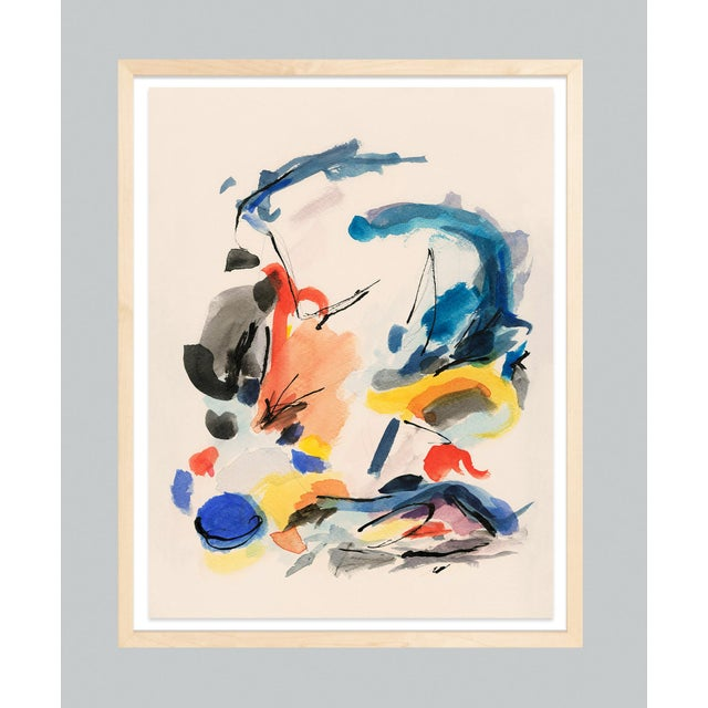 Mid-Century Modern Colorful Print With Primary Colors - Unframed Giclée on Watercolor Paper For Sale - Image 4 of 6