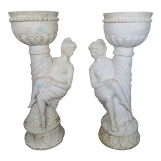 Pair of Italian Carrera Marble Figural Planters For Sale