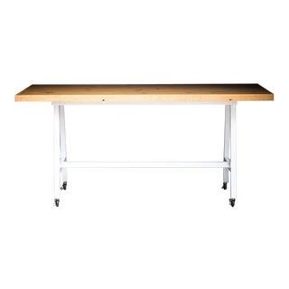 Mill Table, Modern Doug Fir and Steel Rolling Bar